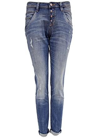 TOM TAILOR Damen Jeanshose Relaxed Tapered, Blau (Destroyed Mid Stone Wash  1074),