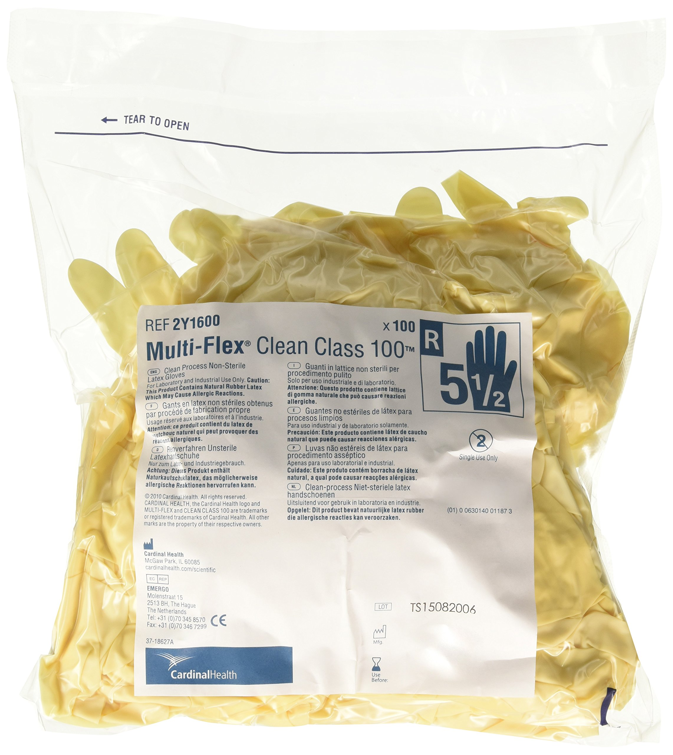 Cardinal Health 2Y1600 Multi-Flex Clean Class 100 Latex Non-Sterile Cleanroom Gloves, Size 5.5 (Case of 200)