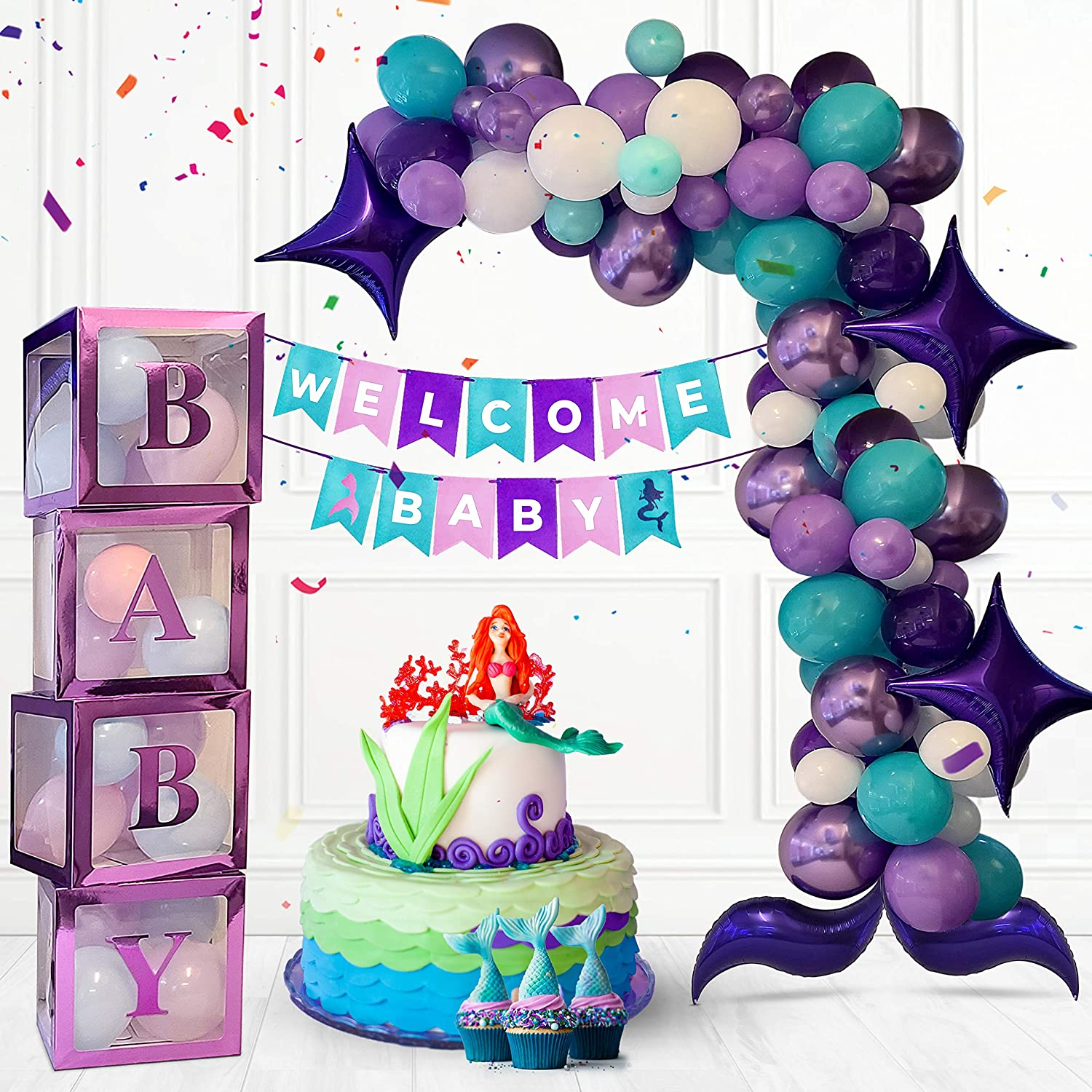 Mermaid Birthday Party Supplies Purple Girl Baby Boxes Decorations for Baby Shower with Balloon Arch Partibear 93 Pieces Mermaid Party Decorations