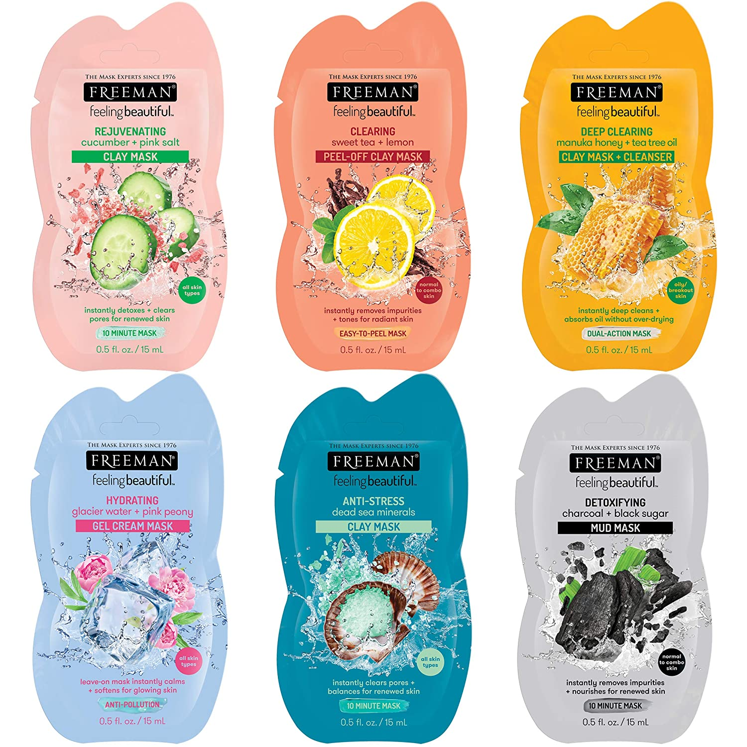 Freeman Mask Variety Collection (Pack of 6) - Anti-Stress Clay, Clearing Peel-Off, Deep Cleanser, Hydrating Gel, Detoxifying Mud