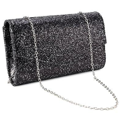 e47895197e Anladia Womens Glitter Shiny Bling Bridal Wedding Party Prom Evening Bag  Clutch Handbag Purse (Black