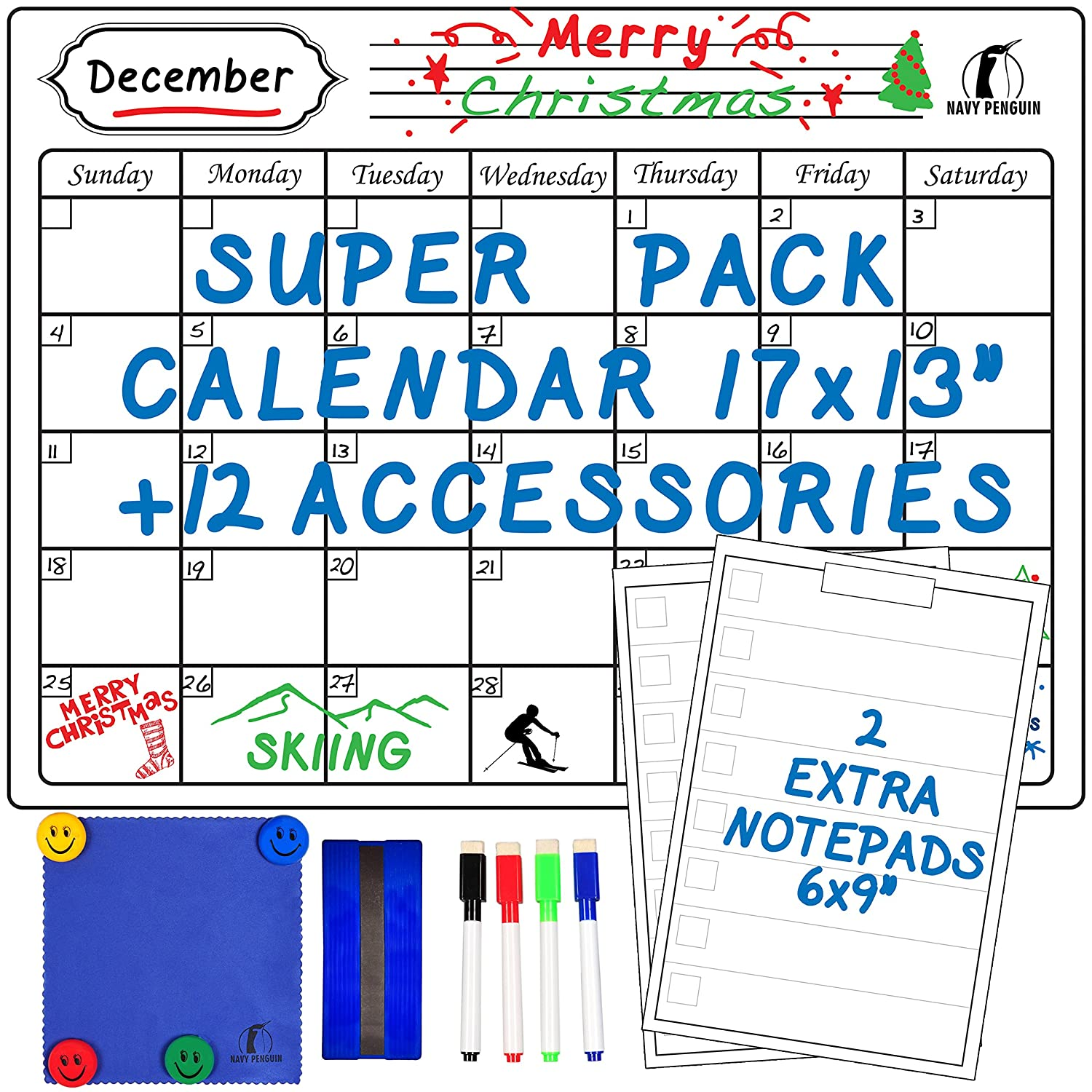 Whiteboard Monthly Calendar Set - Magnetic White Board Calendar 17x13 + 2 Dry Erase Notepads 6x9 + 1 Dry Eraser, 1 Cloth, 4 Dry Wipe Markers, 4 Magnets - Fridge Grocery List for Kitchen Navy Penguin