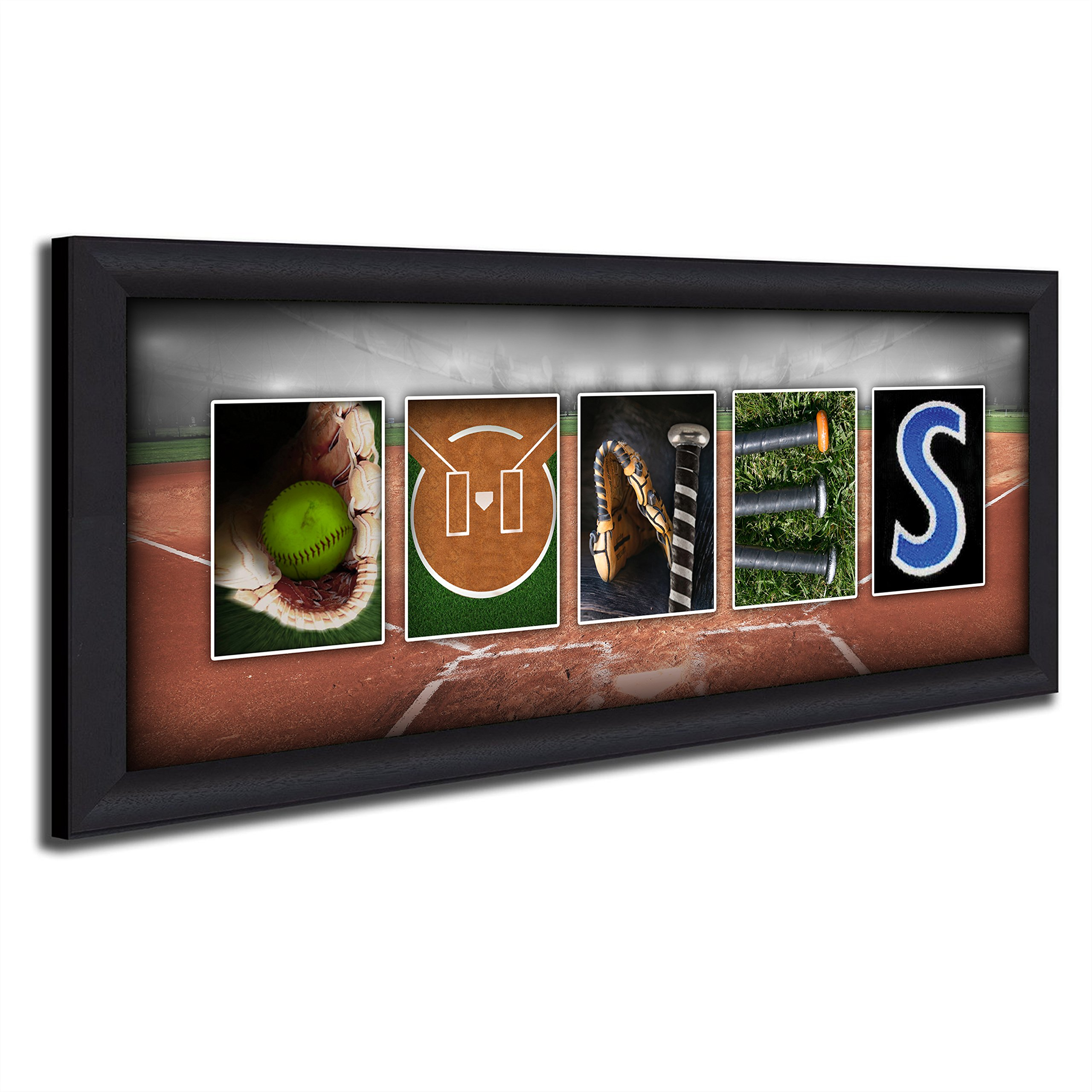 Personalized Softball Name Art (13.5''x32.5'' Framed Canvas)