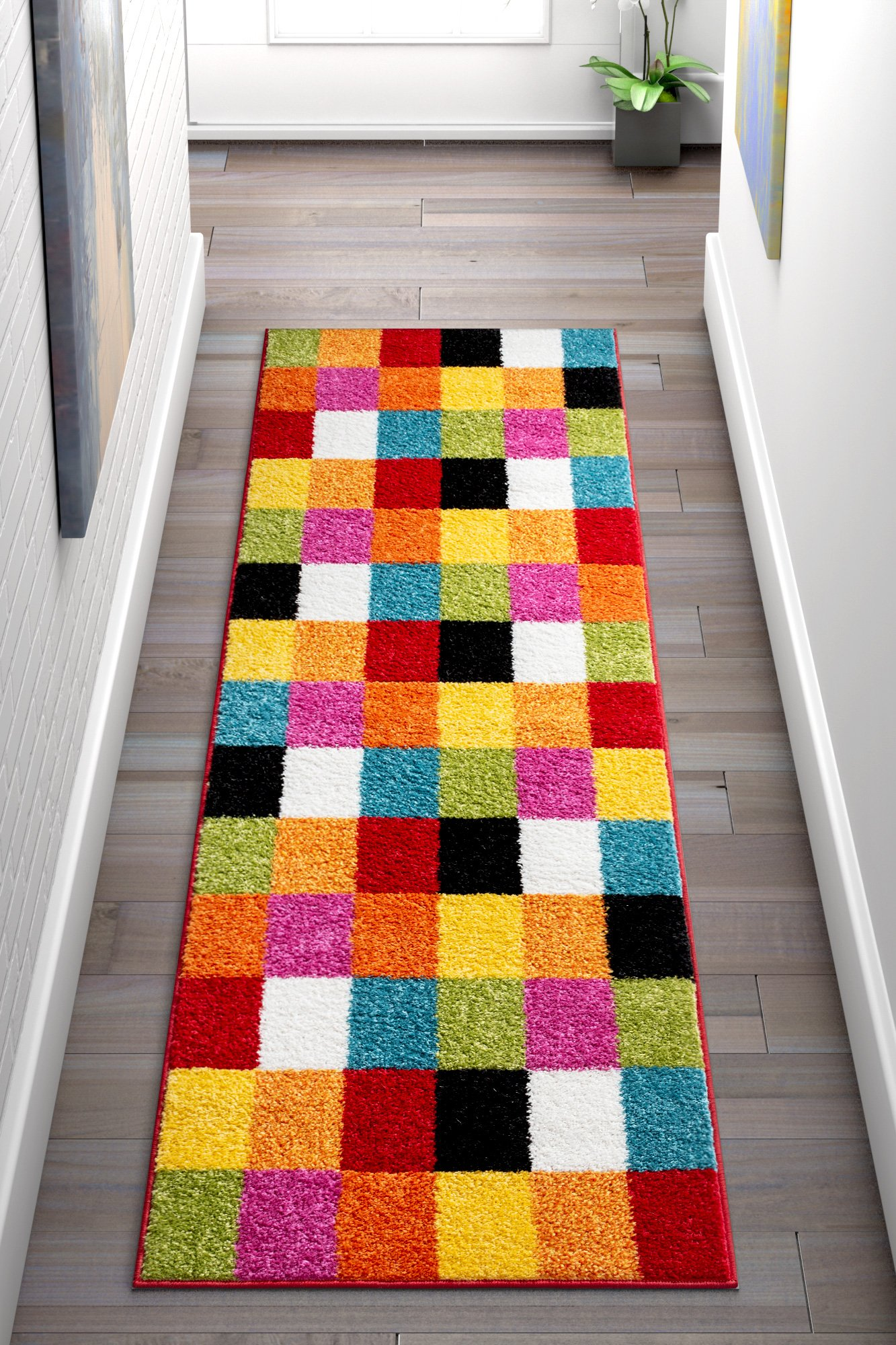 Well Woven 09532 Kids StarBright Bright Square Modern Geometric Multi 2' x 7'3'' Runner Area Rug