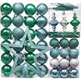 Valery Madelyn 60 Piezas Bolas de Navidad Azules Verdes y Platas, 30-155mm Adornos Navideños para Árbol Incluye 200mm Estrella de Árbol y 59 Piezas Adornos con Cadena pre-Atados