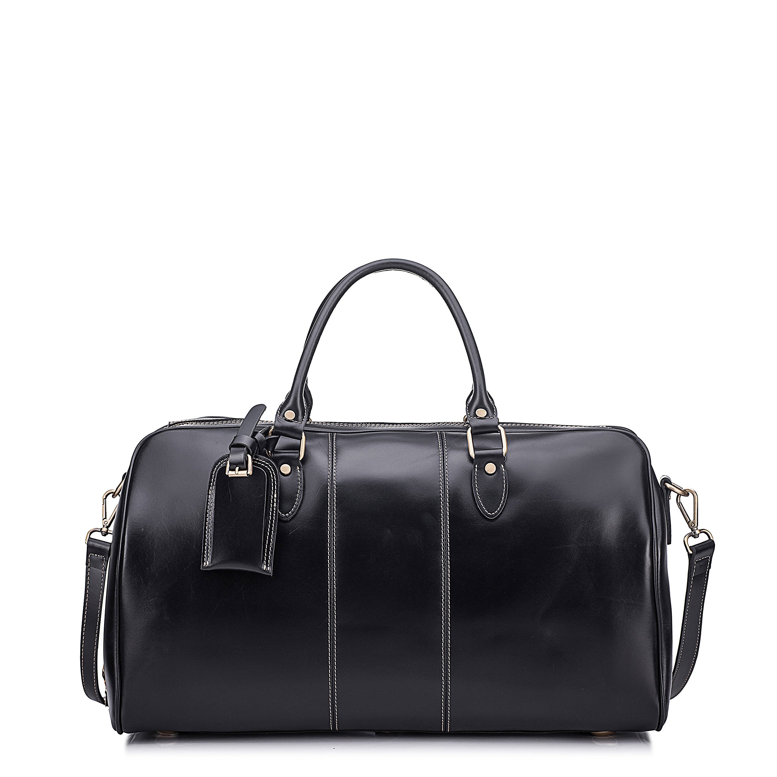 Leather Duffel Bag Travel Overnight Gym Sports Weekender Tote Bags Black by Kissloves (Image #2)