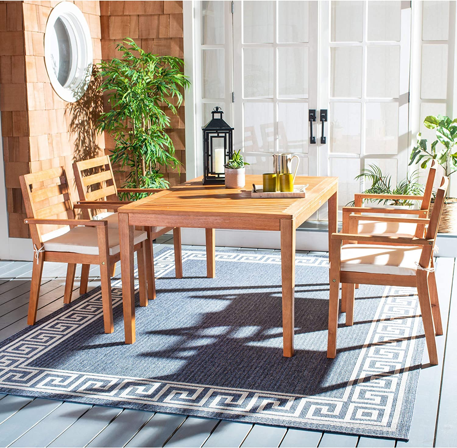 Safavieh PAT7065A-2BX Outdoor Collection Wilming Natural Brown Dining Set