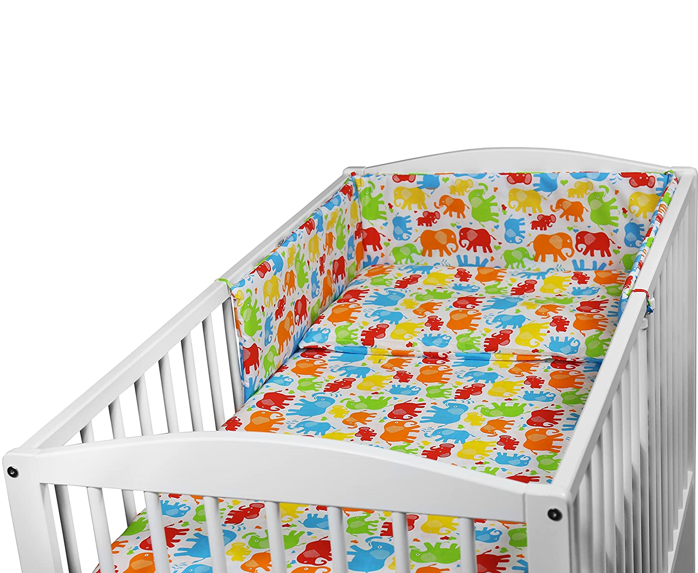 BABY BEDDING SET 3PCS COT SIZE PILLOW DUVET COVER BUMPER 120x60CM (SHEEP TURQUOISE)