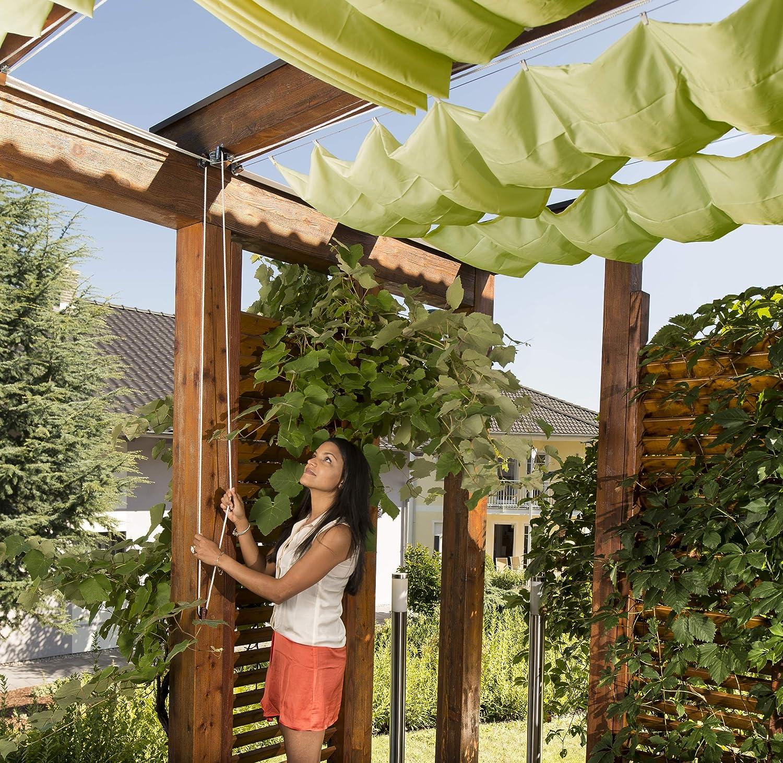 Windhager Toldo Vela de protección Solar tecnología de tensado de Cuerdas 420 x 140 cm, Ideal para pérgola o Invernadero, Verde Manzana, 10882: Amazon.es: Jardín