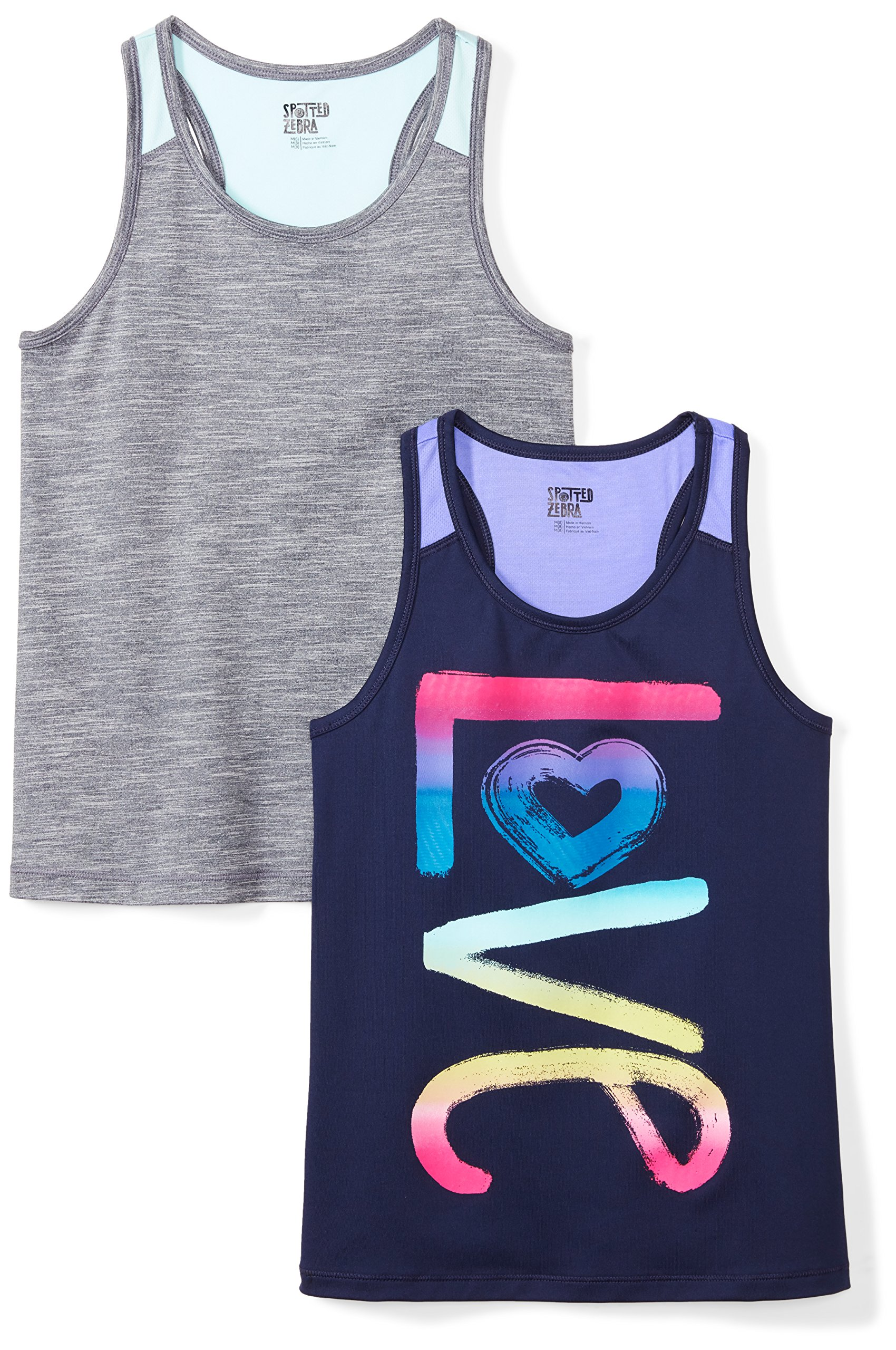 Spotted Zebra Girls' Little 2-Pack Active Tank Tops, Love, Small (6-7)