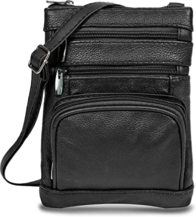 Maze Exclusive Womens Genuine Leather Cross Body Handbag Purse Messenger Bag with Multi Pockets, Adjustable Strap