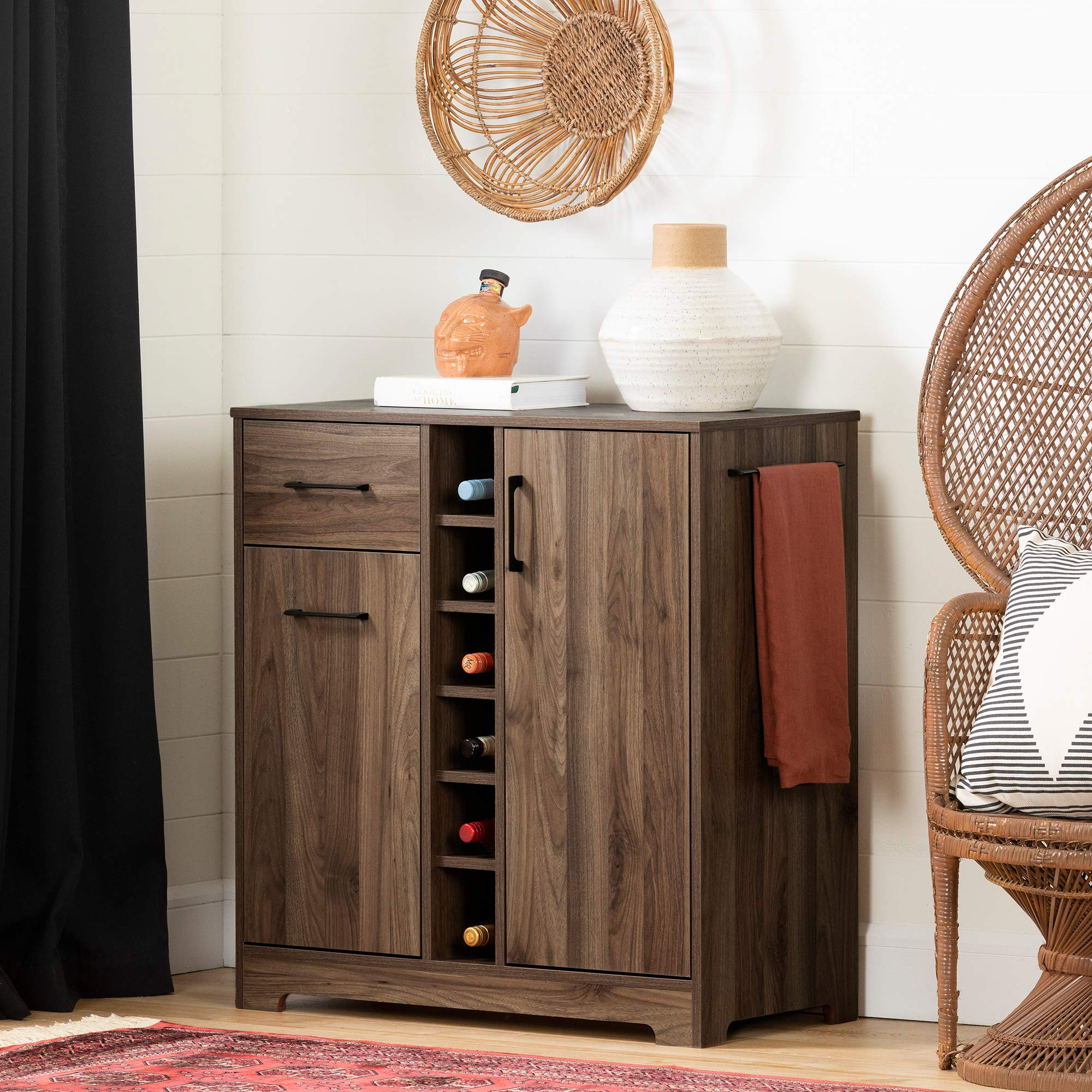 South Shore Vietti Bar Cabinet and Bottle Storage-Natural Walnut by South Shore
