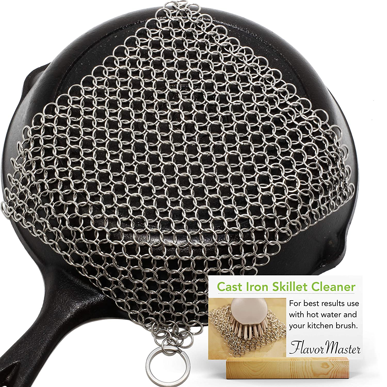 """FlavorMaster 8""""x6"""" Cast Iron Skillet Cleaner 316L Stainless Steel Chainmail Scrubber for Cast Iron Pans Maintains Seasoning Leaves Cast Iron Cleaner"""