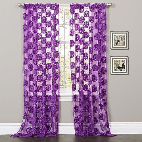Lush Decor Arlene Window Curtain Panel, 84 by 50-Inch, Purple