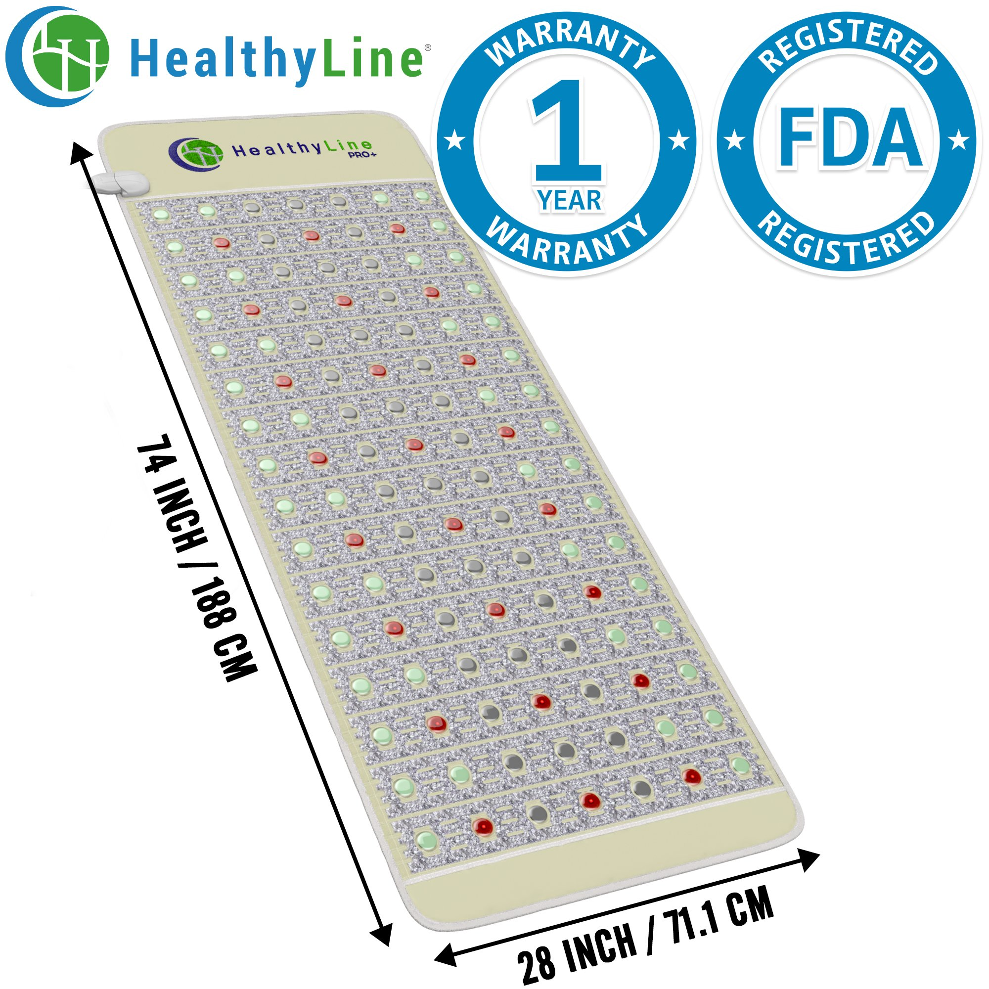 HealthyLine Infrared Heating Mat|PEMF Pro+, Amethyst, Jade & Tourmaline, Healing Mat 74'' x 28''|  Heated Negative Ions (Full Body & Firm) |Relieve Sore Joints, Muscles, Arthritis| FDA Registered