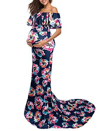 5485a6ca041 Saslax Women s Off Shoulder Maternity Slim Fit Gown for Photography Maxi  Dress at Amazon Women s Clothing store