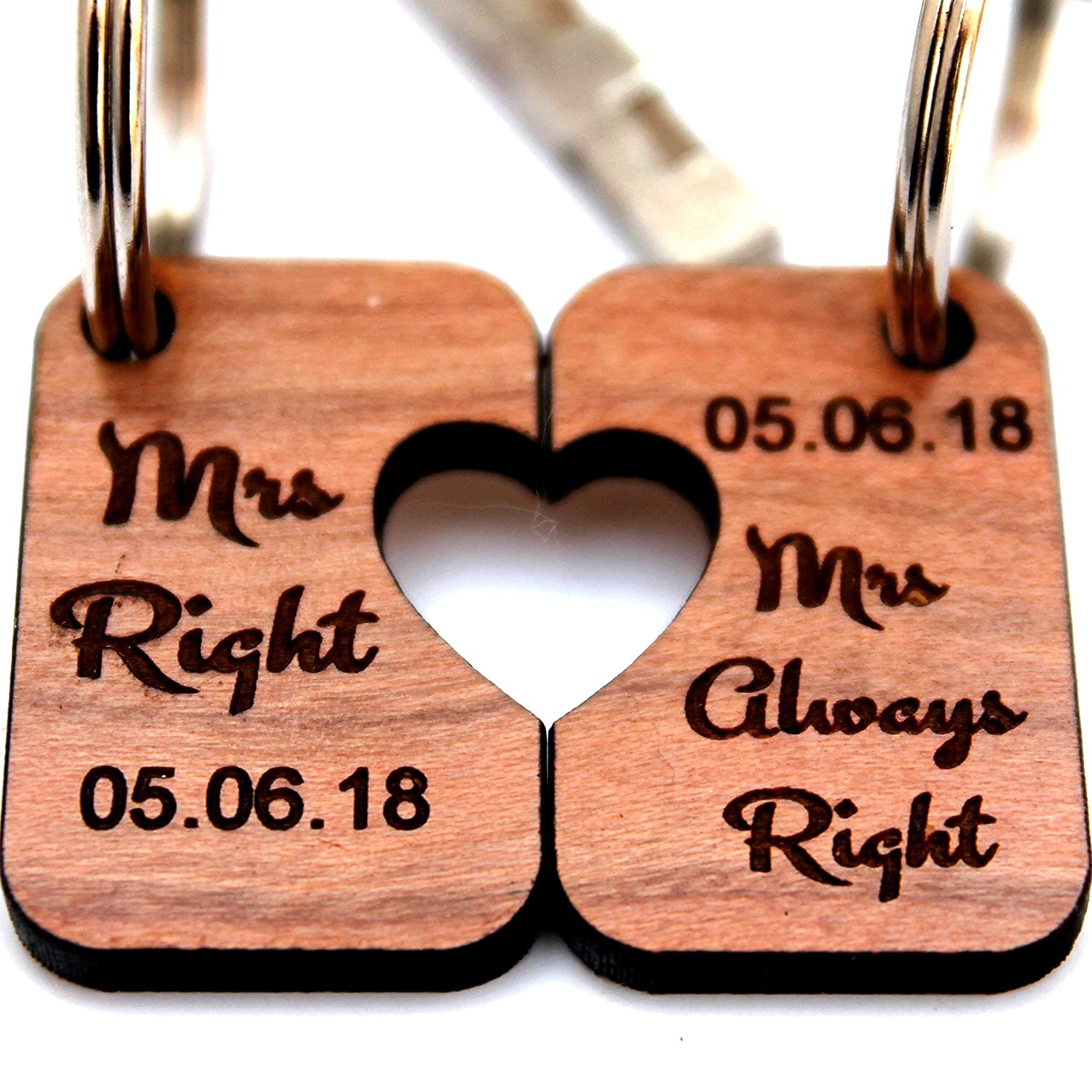 MadeAt94 Wedding Anniversary Gay MRS & MRS Engagement Keychain Gift Lesbian Couples
