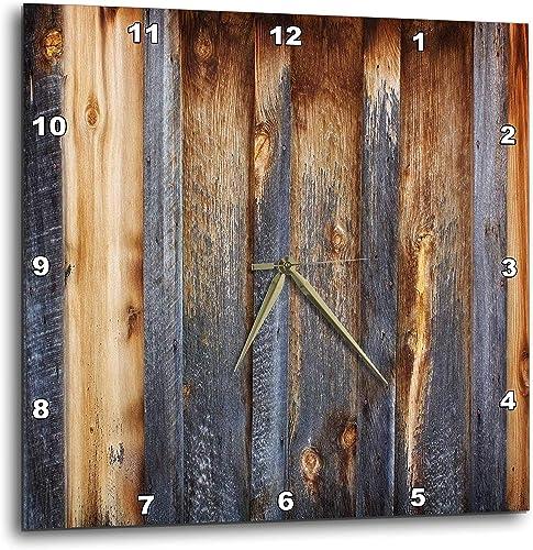 3dRose DPP_124675_3 Brown Barn Wood Look Wall Clock, 15 x 15