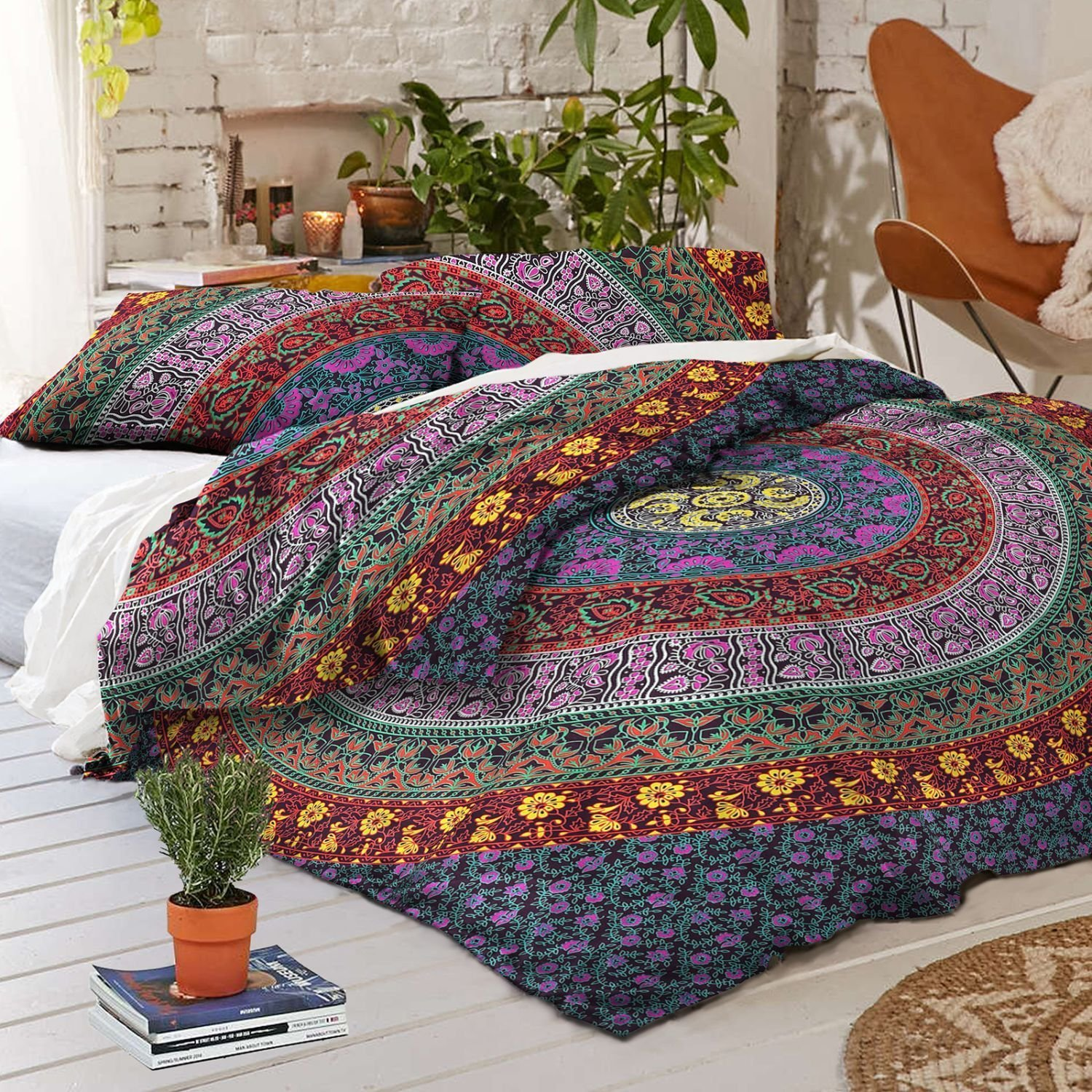 4 PC Set Doona Bedding Boho Indian Duvet Cover Reversible Cover with 1 pc Tapestry Queen Size Bedsheet Elephant Mandala Wall Hanging Beach Throw & Pillow Covers Hippie with free magazine holder
