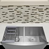 "Firebird 33"" x 22"" x 9"" Apron Farmhouse Handmade Stainless Steel Double Bowl 50/50 Kitchen Sink w/ Drain Strainer Kit Adjustable Tray"
