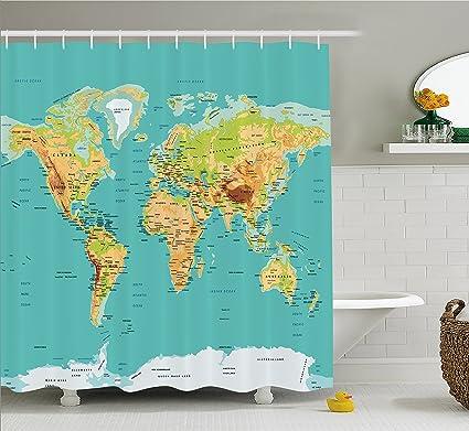 Mapa cortina de ducha por Ambesonne, mapa del mundo Geografía continentes países física cartografía imagen