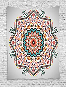 Ambesonne Tribal Tapestry, Abstract Style Themed Boho Sun Pattern Art Print on Greyscale Background, Wall Hanging for Bedroom Living Room Dorm Decor, 40
