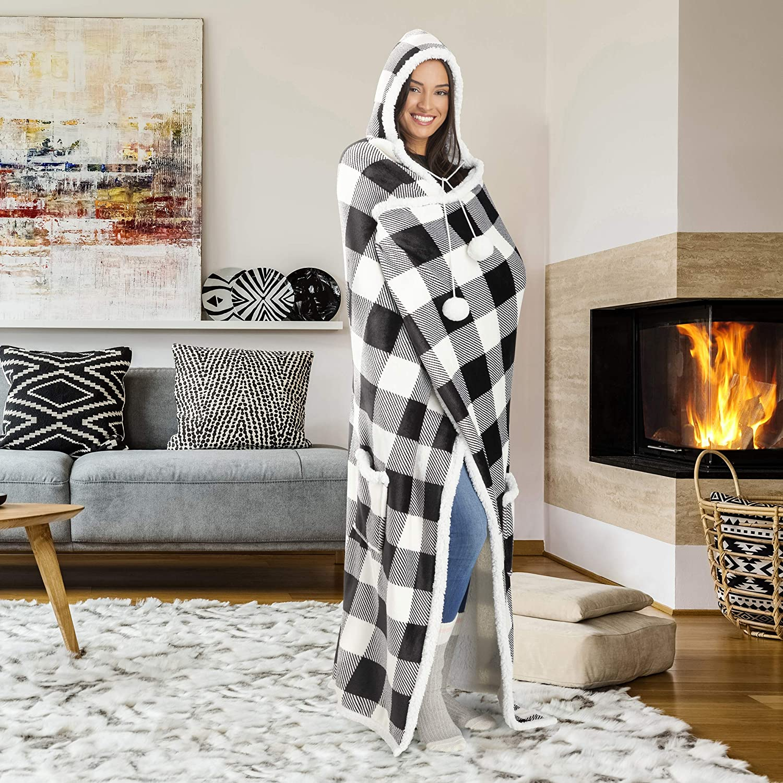 Safdie /& Co 52x72 Hooded Blanket Throw Wearable Cuddle Red