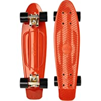 """Ridge Retro 70er Style Mini Cruiser Skateboard 22""""/55cm mit schwarzen Rollen"""