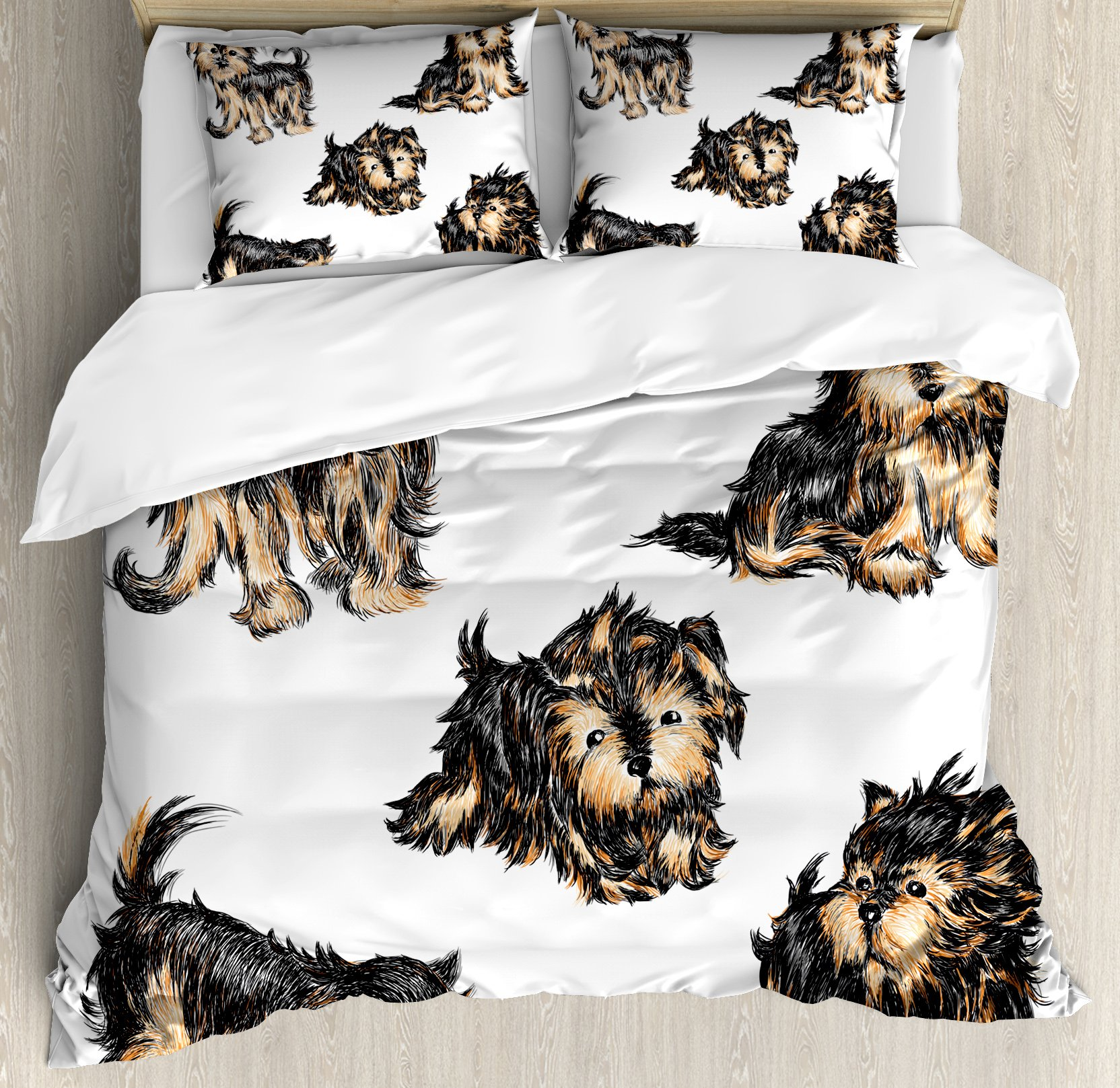 Ambesonne Yorkie Duvet Cover Set Queen Size, Hand Drawn Cute Yorkies Realistic Yorkshire Terrier Images Dog Love Cartoon, Decorative 3 Piece Bedding Set with 2 Pillow Shams, Light Coffe Black