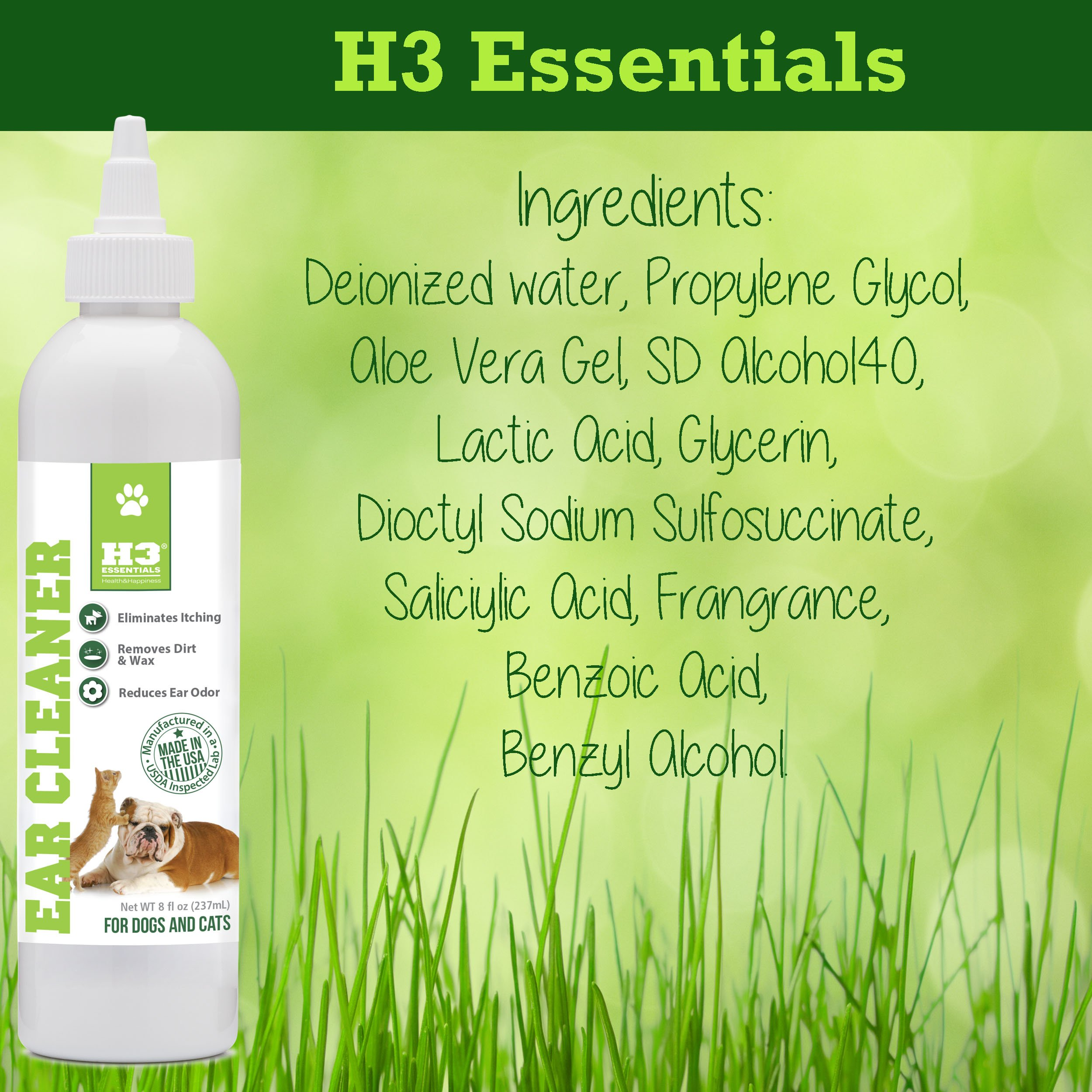 H3 Essentials Dog Ear Cleaner For Dogs and Cats with Aloe - Prevents Infection, Cleans and Dries Pets Ears - 8 oz by H3 Essentials (Image #6)