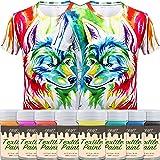 Craft Fabric & Textile Clothing Paint – Set of 8 Art and Hobby Paints – T-Shirt & DIY Kids Children Paint - 5.5 fl oz - Vivid Colors
