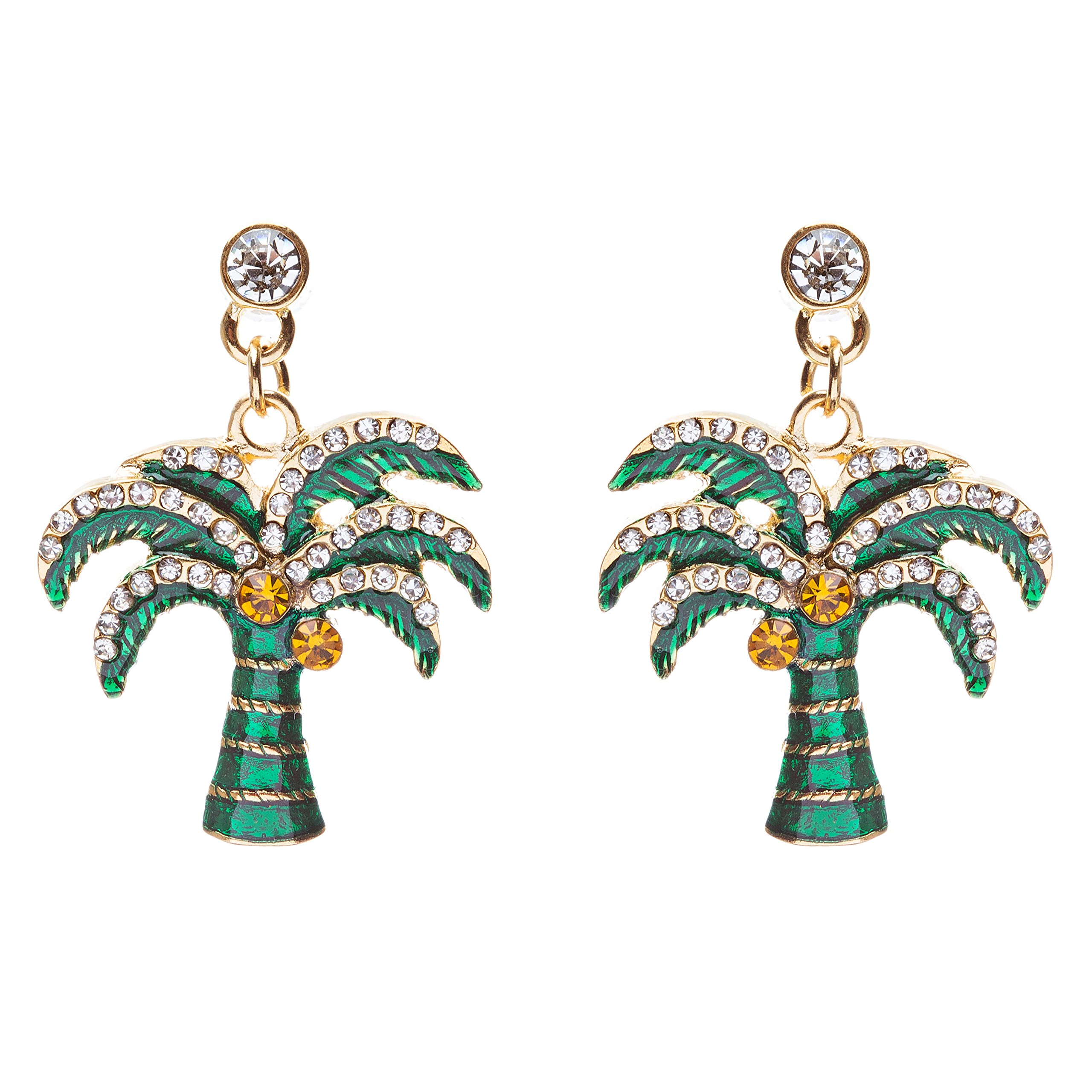 ACCESSORIESFOREVER Women Stylish Crystal Rhinestone Pretty Palm Tree Charm Earrings E861 Green Gold
