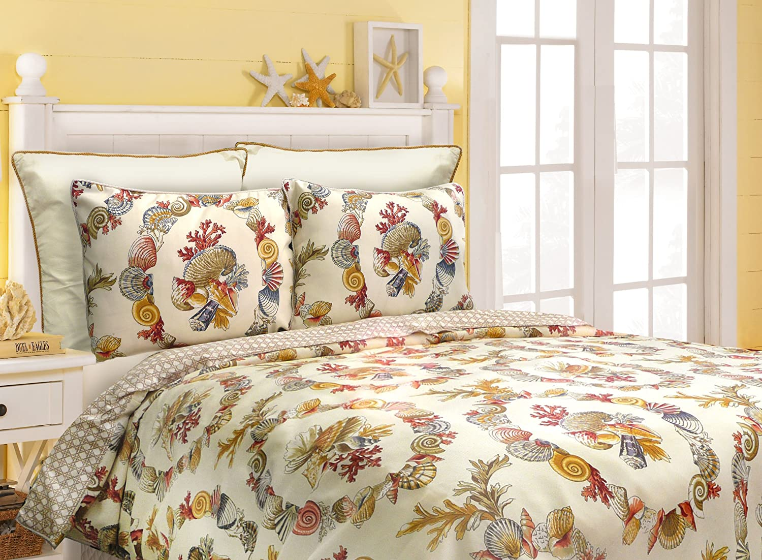 Scent-Sation Coral Wreath Comforter Set, Queen