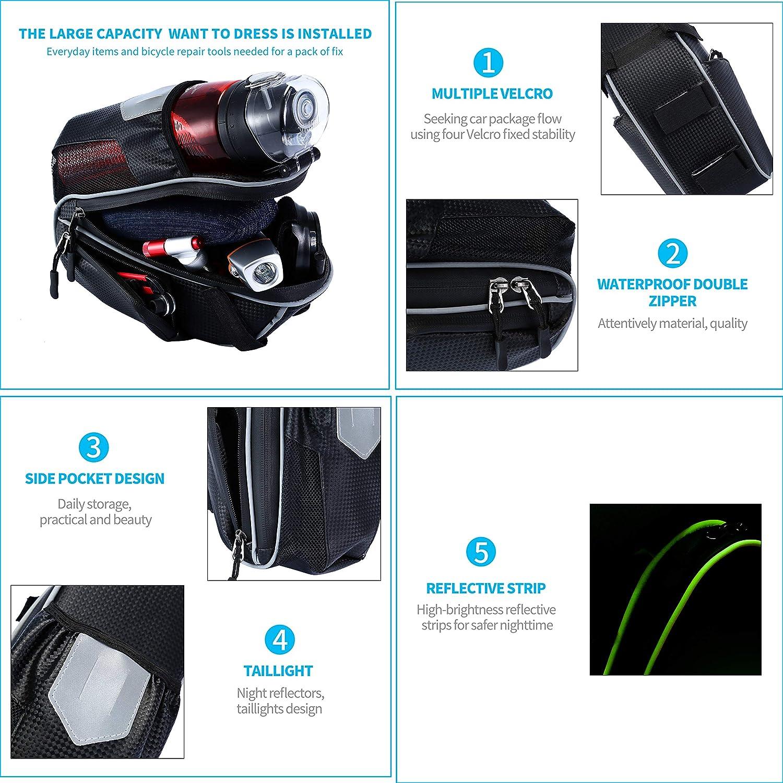 Waterproof Mountain Road MTB Bike Seat Pack with Water Bottle Pockets Holder//Reflective Stripes Selighting Bike Saddle Bag