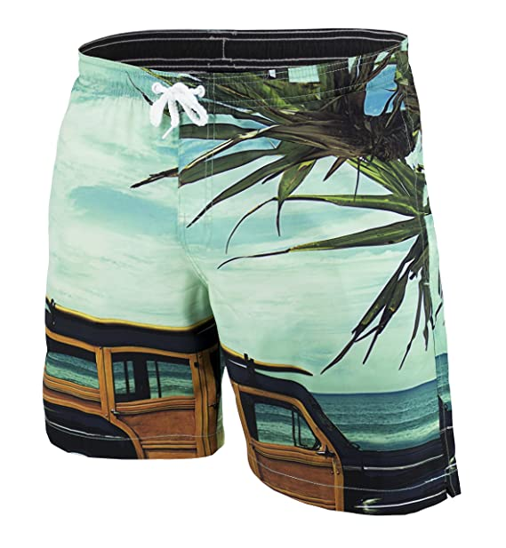 0675b251964 Matereek Men s Short Swimwear Beach Road Trimp Print Swim Trunks Small