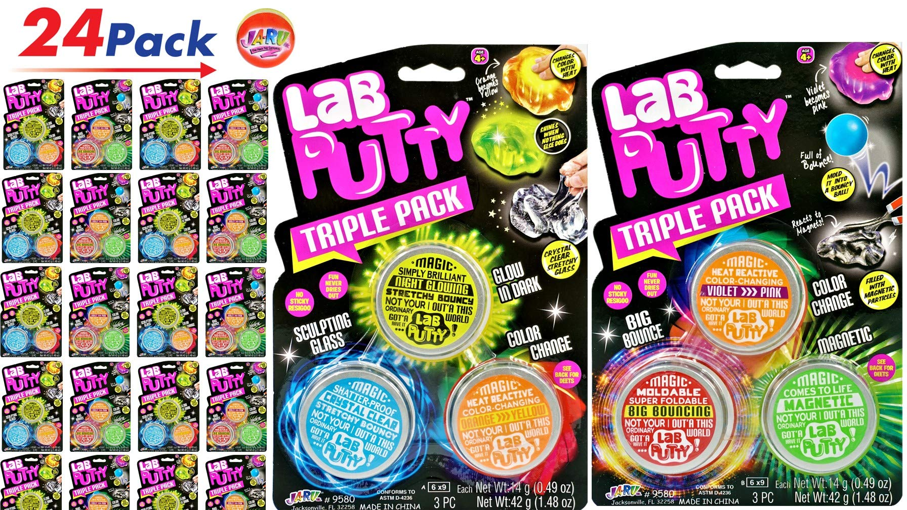 JA-RU Putty Lab Sets (24 Sets 72 Putties) and one Bouncy Ball | Fun Assorted Putties. Magnetic, Heat, Clear, Bouncy, Glowing | 9580-24