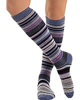 Womens Stripe Knee Socks Cashmere Blend 7 Color Options