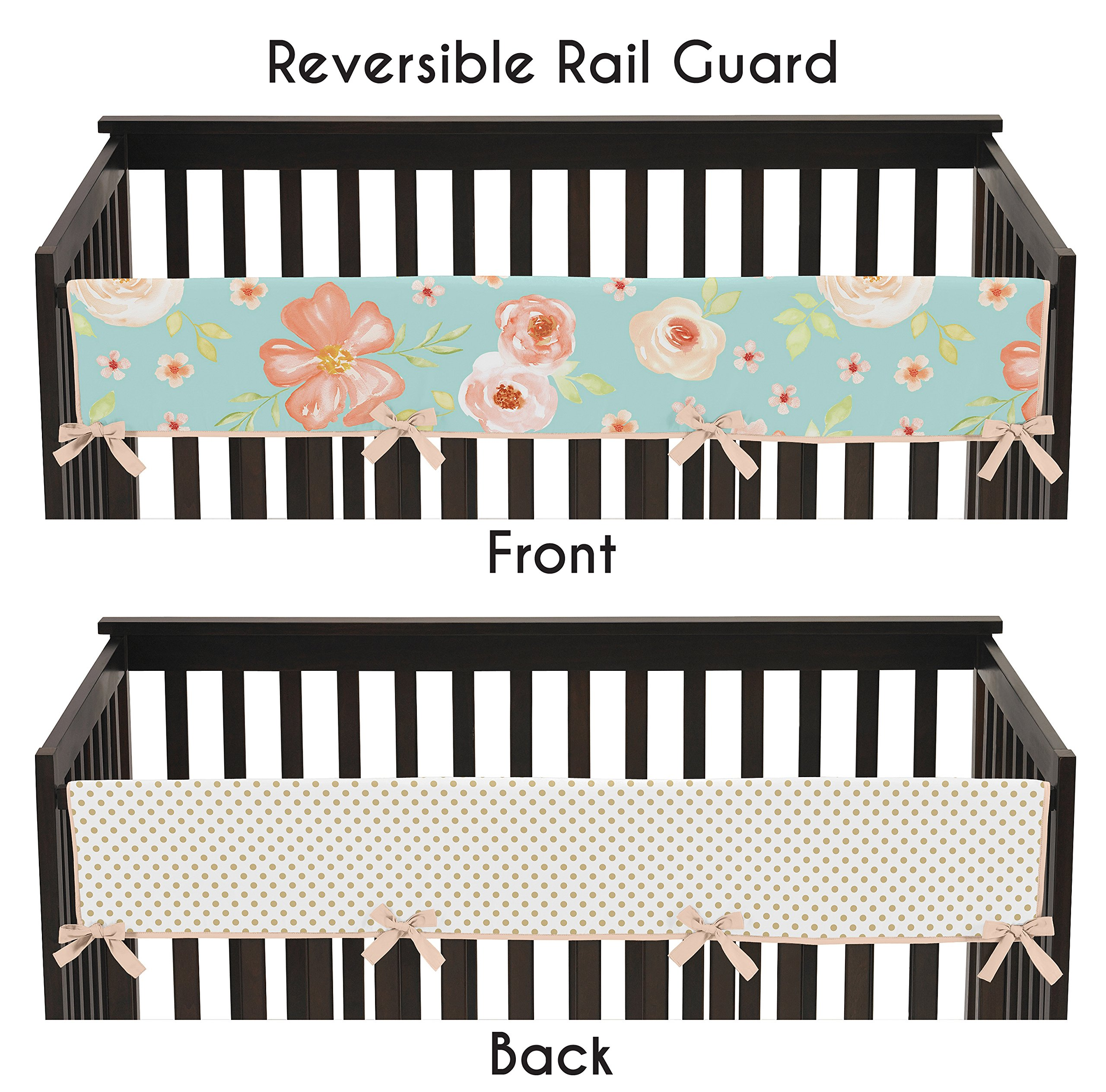 Sweet JoJo Designs Turquoise, Peach and Gold Long Front Crib Rail Guard Baby Teething Cover Protector Wrap for Watercolor Floral Collection - Pink Rose Flower Polka Dot