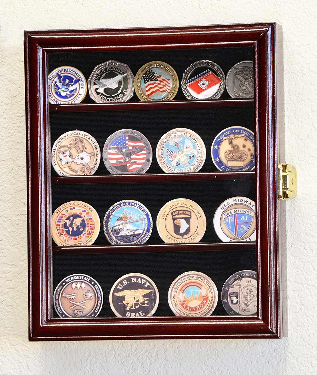 XS Military Challenge Coin Display Case Cabinet Holder Rack Box w/UV Protection -Cherry Finish