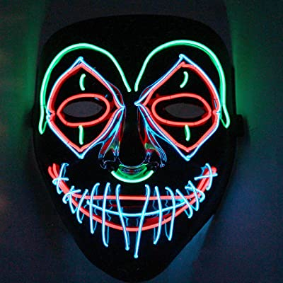 Halloween LED Purge Scary Mask Light Up LED Mask Cool Costume Accessories (Clown): Clothing