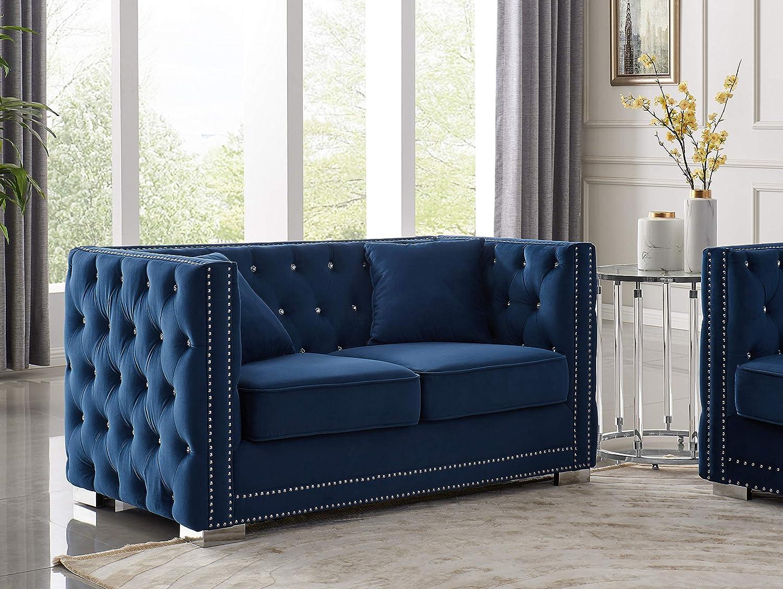 Iconic Home Christophe Love Seat Sofa Velvet Upholstered Button Tufted Nailhead Trim Shelter Arm Design Silver Tone Metal Block Legs Modern Transitional, Navy