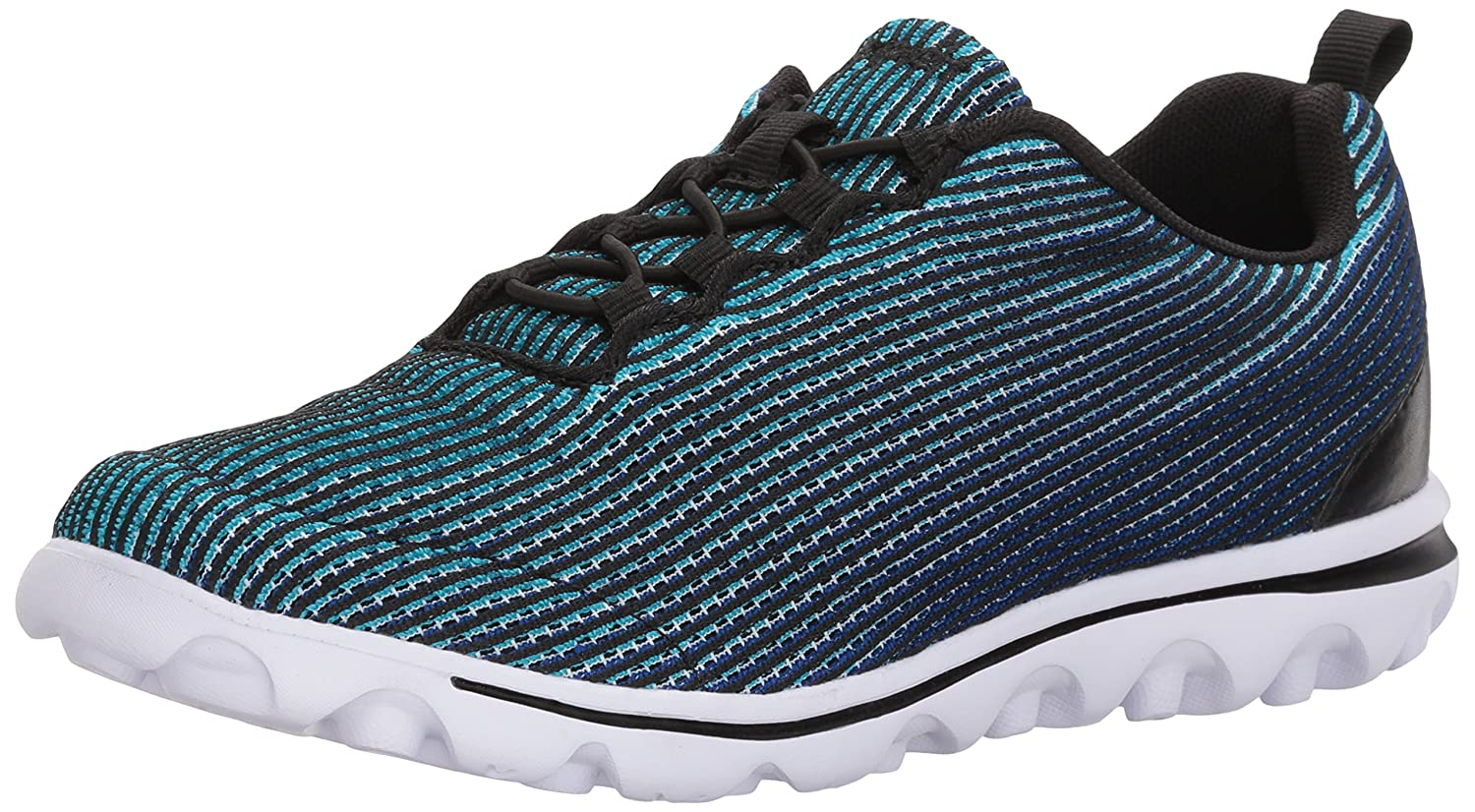 Propét Women's TravelActiv Xpress Sneaker B071JFSK93 8 4E US|Black/Blue
