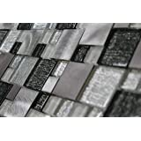 WS Tiles: Twilight Series Random Sized Glass and Aluminum in White, Gray & Black, Backsplash, Mesh-Mounted Mosaic Tile for Kitchen & Bathroom - 12 in x 12 in x 8mm - Pack of 7 Sheets