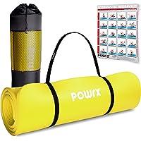 POWRX Colchoneta Fitness Antideslizante 190 x 60, 80, 100 cm - Esterilla Ideal para Yoga, Pilates y Gimnasia - Extra…