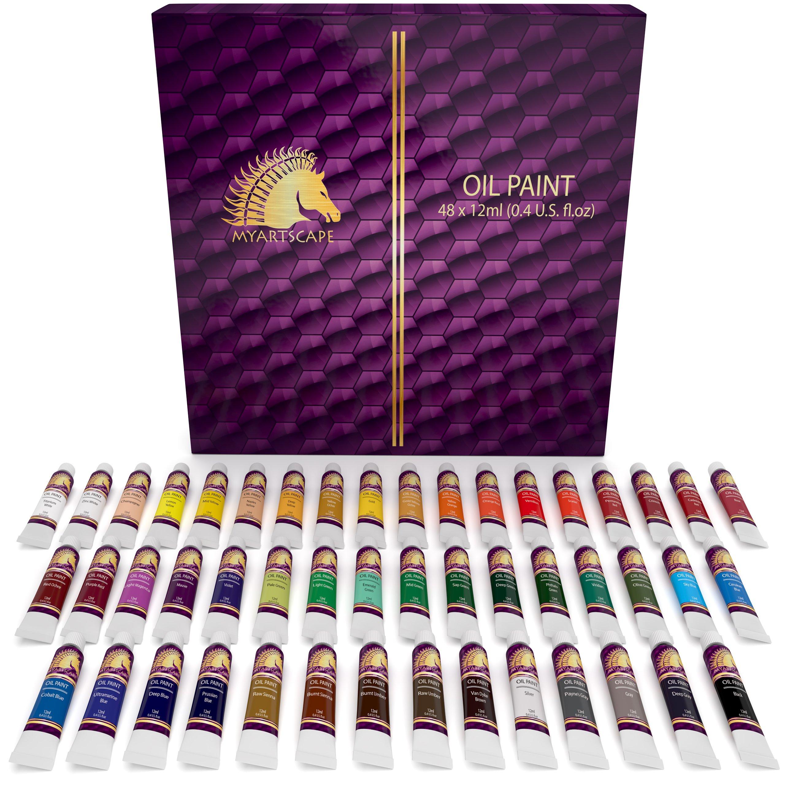 Oil Paint Set - 12ml x 48 Tubes - Artists Quality Art Paints - Oil-Based Color - Professional Painting Supplies - MyArtscape