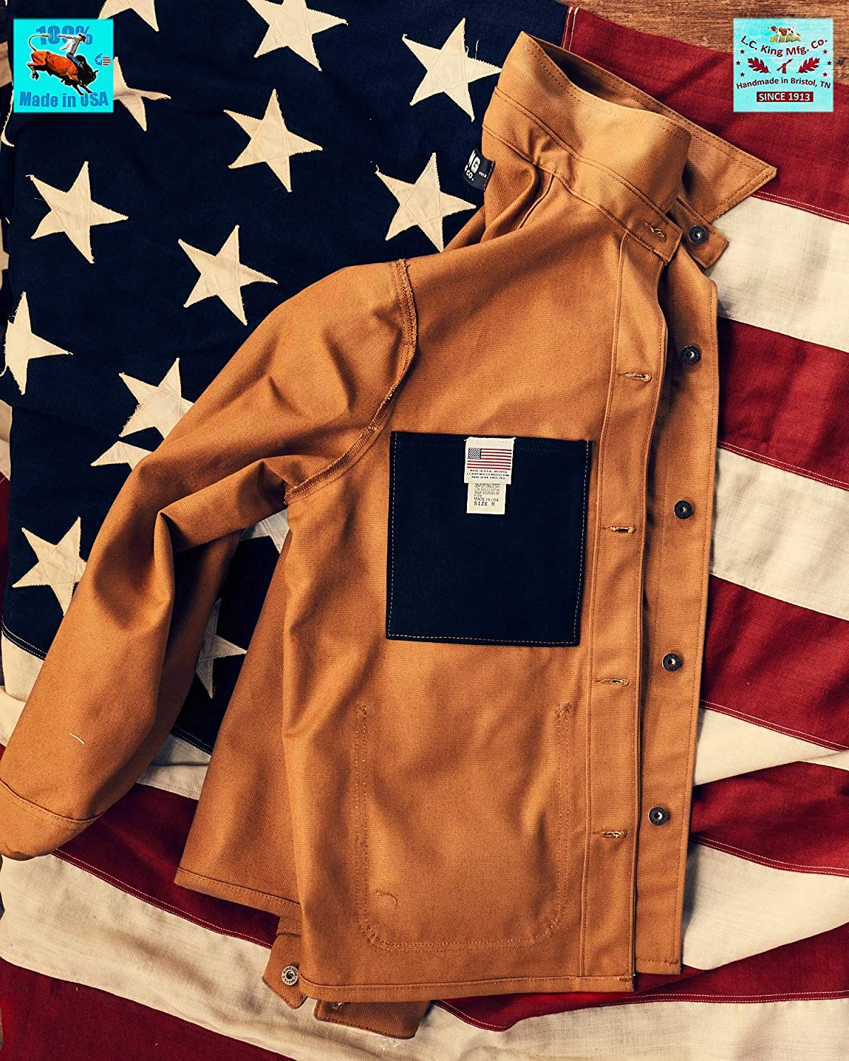 King Made in USA Mens Brown Duck Chore Coat L.C