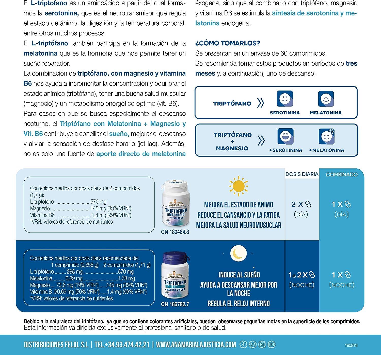 Ana Maria Lajusticia - Triptófano con magnesio + VIT B6 – 60 comprimidos. Reduce la ansiedad, el cansancio y regula el reloj interno. Apto para veganos. Envase para 30 días de tratamiento.: