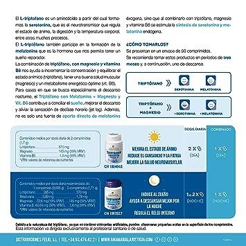 Ana Maria Lajusticia - Triptofano con magnesio + VIT B6 – 60 comprimidos. Reduce la ansiedad, el cansancio y regula el reloj interno. Apto para ...