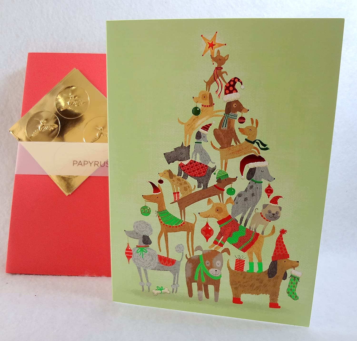 Papyrus Christmas Tree Dogs Boxed Holiday Cards