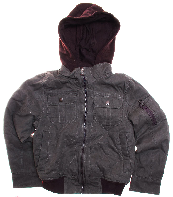 Urban Republic Big Boys Canvas Hooded Bomber Jacket 10//12, Olive